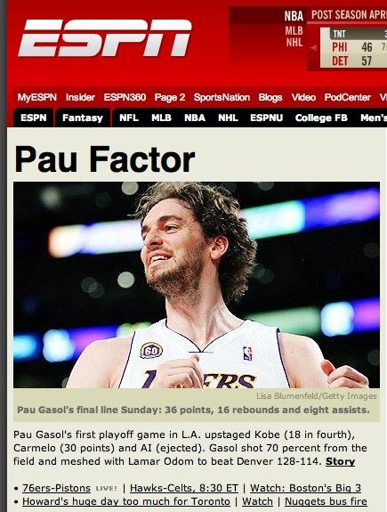 Pau Gasol Lakers ESPN