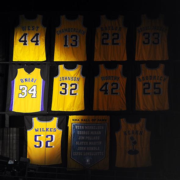 Camisetas retiradas Lakers