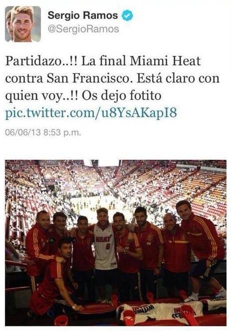 """Sergio Ramos animó a Miami contra los """"San Francisco Spurs"""""""
