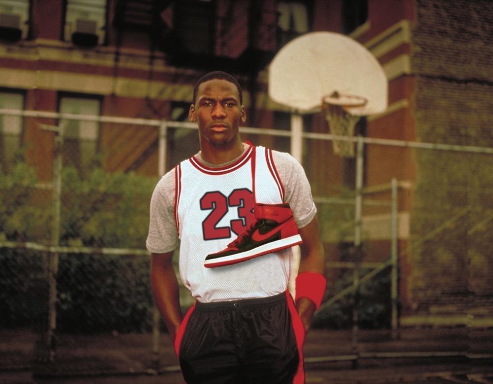 Michael Jordan en 1985 con la Air Jordan I